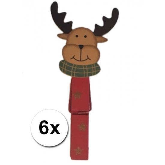 Set van zes houten kerstknijpertjes in rood met rendier. de houten knijpers zijn ca. 7,5 x 1 x 1,5 cm groot ...
