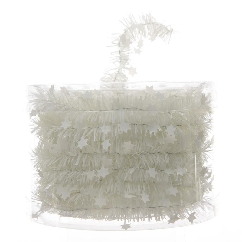 Feestslinger dun wit sterren folie 7 x 270 cm