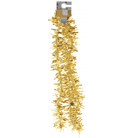 Feestversiering folieslinger goud met sterretjes 180 cm