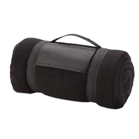 Fleece deken-plaid zwart met afneembaar handvat 160 x 130 cm