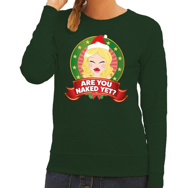 Foute kersttrui groen Are You Naked Yet voor dames
