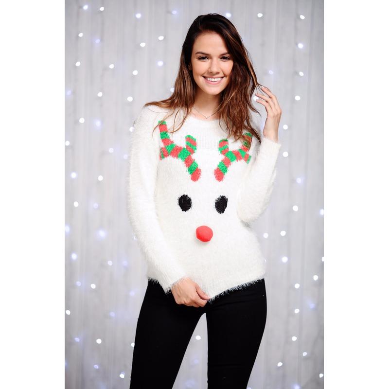 Foute kersttrui rendier voor dames. deze pluizige dames trui is gemaakt van zachte wimpergaren en heeft een ...