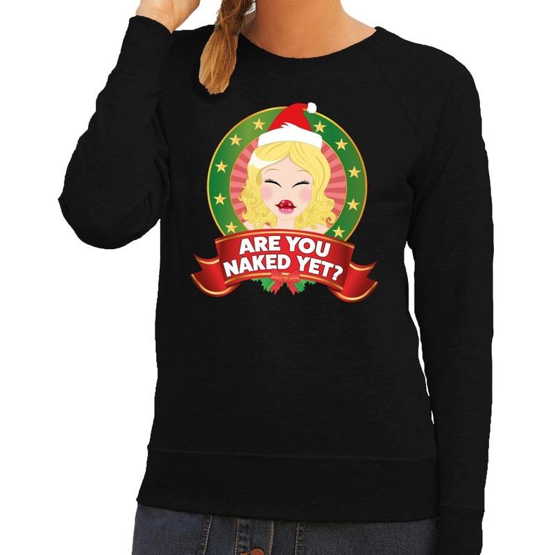 Foute kersttrui zwart Are You Naked Yet voor dames