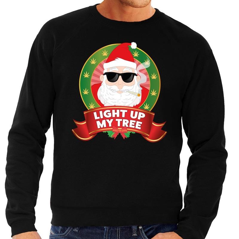 Foute kersttrui zwart Light Up My Tree voor heren