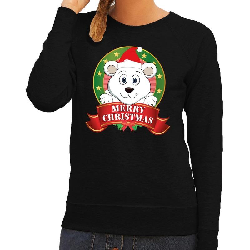 Foute kersttrui zwart Merry Christmas ijsbeer voor dames