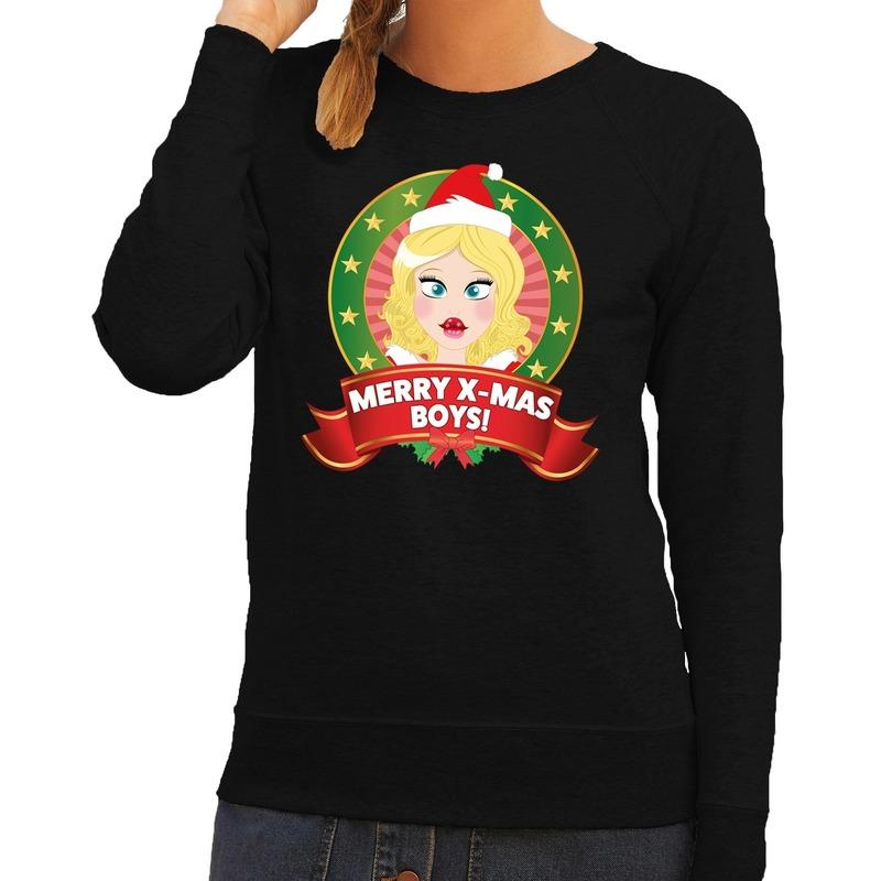 Foute kersttrui zwart Merry X-mas boys voor dames