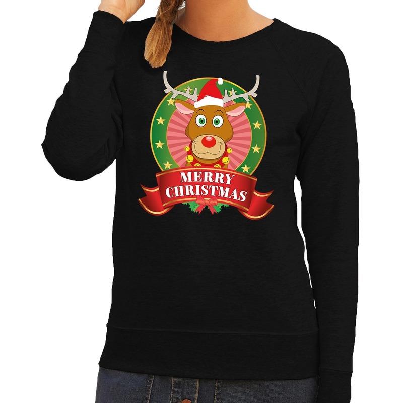 Foute kersttrui zwart Rudolph Merry Christmas voor dames