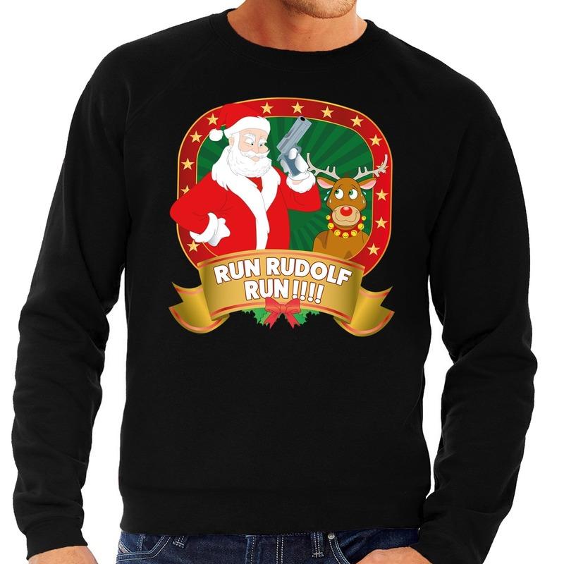 Foute kersttrui zwart Run Rudolf Run voor heren