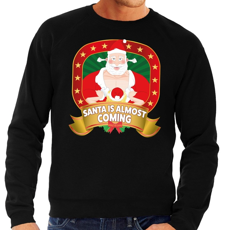 Foute kersttrui zwart Santa Is Almost Coming voor heren