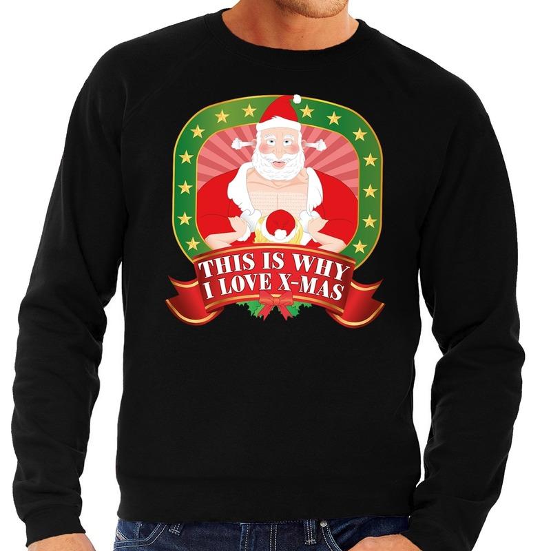 Foute kersttrui zwart This Is Why I Love Christmas voor heren