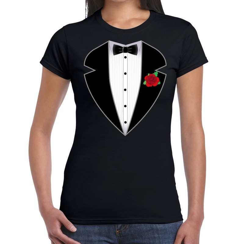 Gangster-maffia pak kostuum t-shirt zwart voor dames