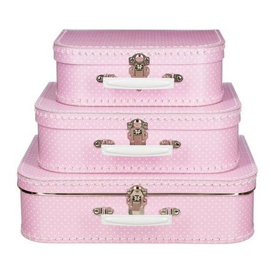 Geboorte meisje kraamcadeau koffertje roze met stippen 25 cm