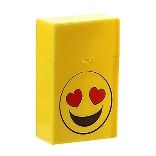 Geel sigarettendoosje verliefde smiley