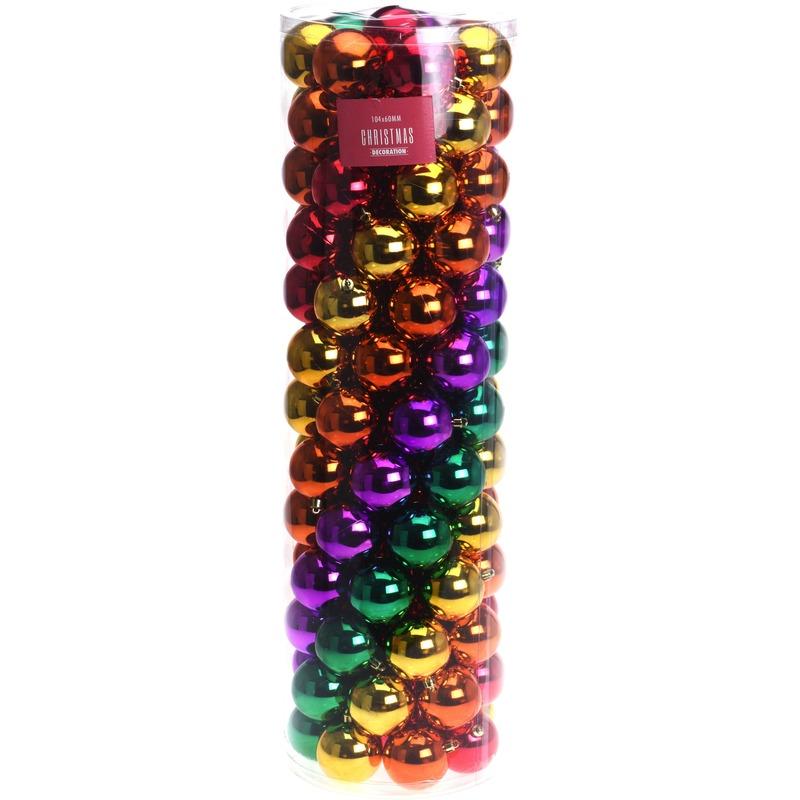 Gekleurde kerstversiering kerstballen set 100 delig
