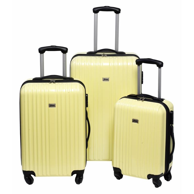 Gele koffer op wielen 66 cm