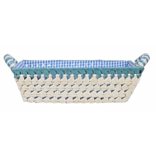 Gestoffeerd mandje met keramieken handvaten large blauw