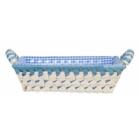 Gestoffeerd mandje met keramieken handvaten medium blauw
