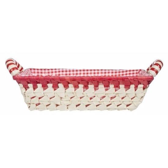 Gestoffeerd mandje met keramieken handvaten medium rood