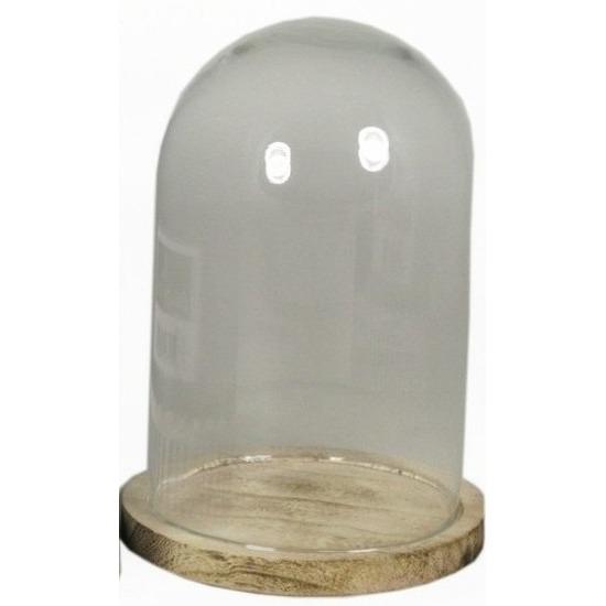 Glazen decoratie stolp op houten plateau 22 cm