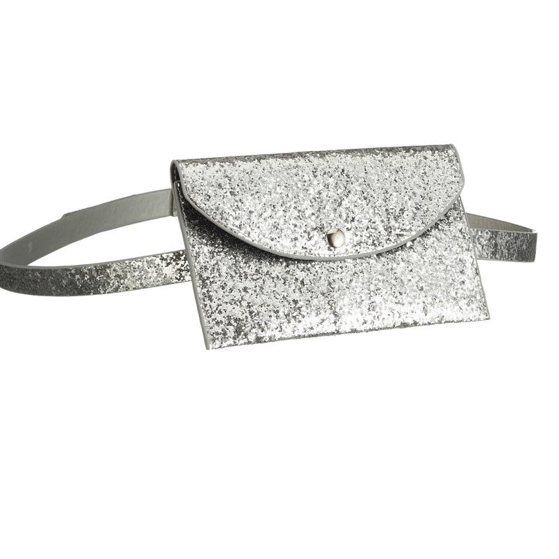 Glitter heuptasje zilver 18 cm