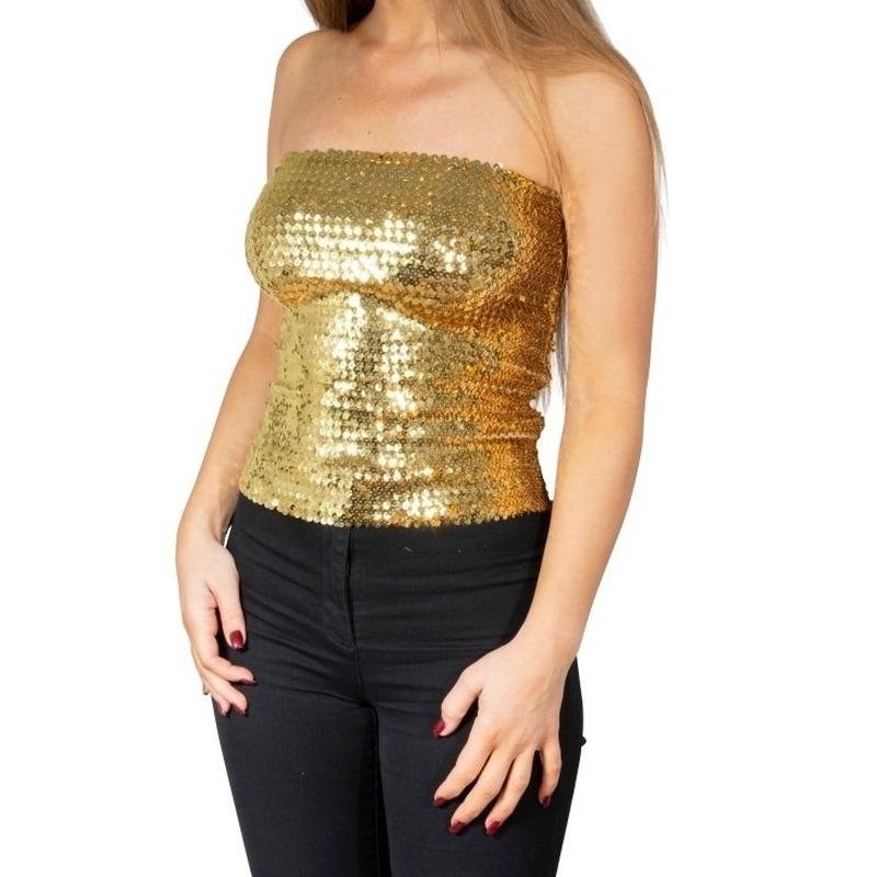 Gouden glitter pailletten disco strapless topje- shirt dames