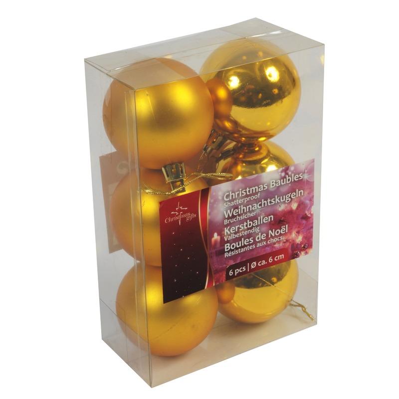 Gouden kerstballen kerstversiering van kunstof 12 stuks van 6 cm