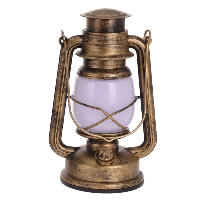 Gouden lantaarn decoratie 25 cm vlam LED licht op batterijen