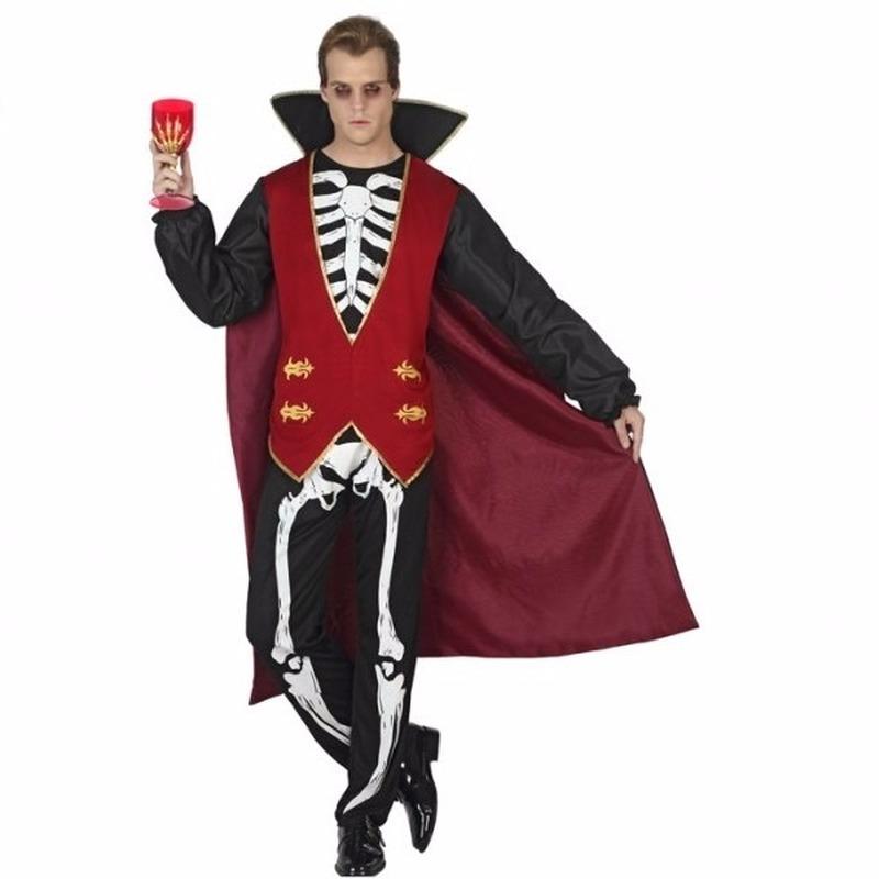 Griezel vampier verkleedkleding met bottenprint