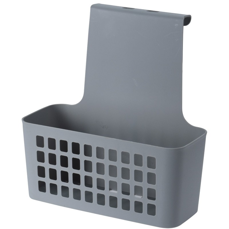 Grijze badkamer of kasten opberg-sorteer hang mandje 25 cm