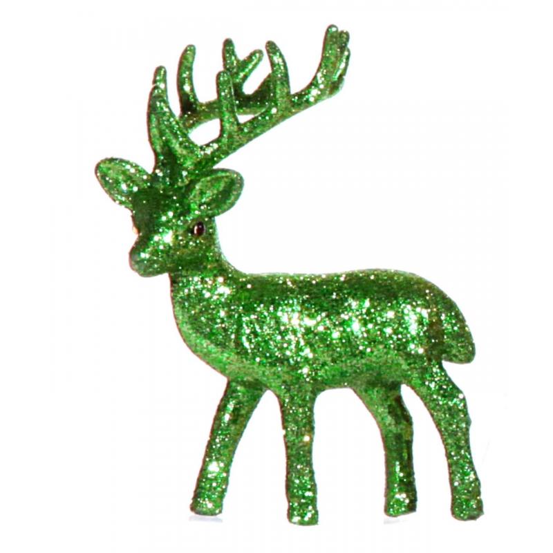 Groen glitter deco rendier 10 cm