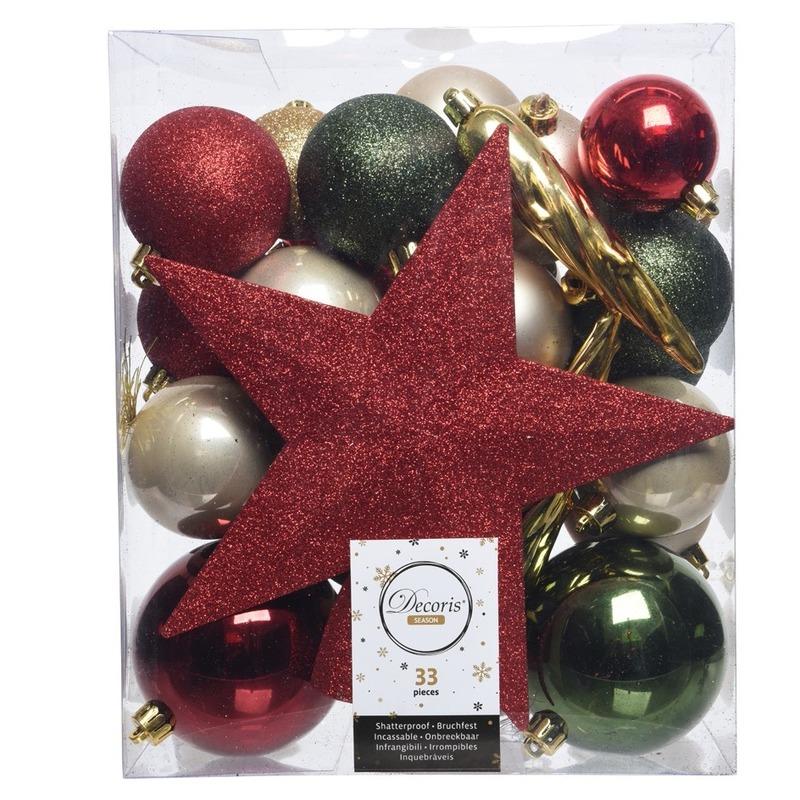 Groen-goud-rood kerstballen pakket met piek 33 stuks