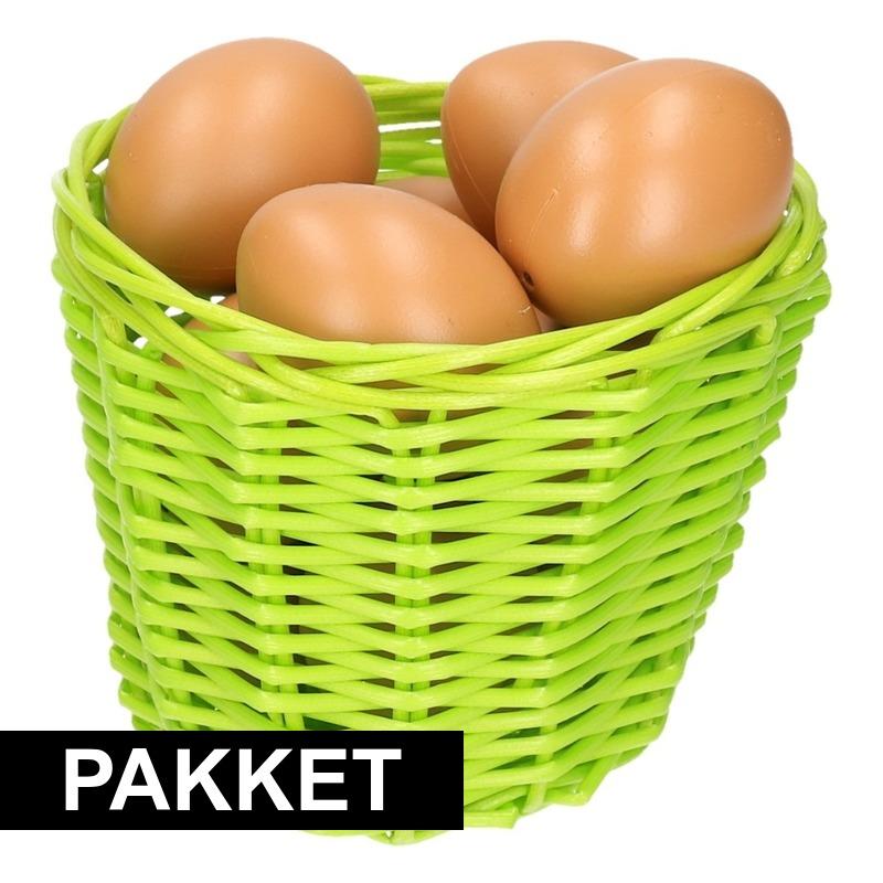 Groen Paasmandje met eieren naturel 14 cm