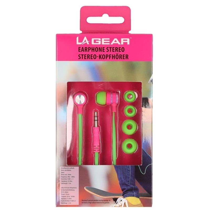 Groen-roze oordopjes-oortelefoon in ear stereo