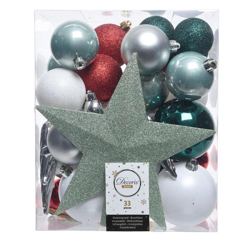 Groen-zilver-wit kerstballen pakket met piek 33 stuks
