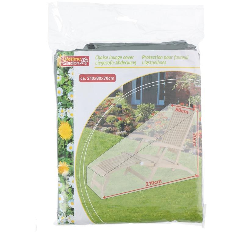Groene afdekhoes-beschermhoes tuin ligstoel 210 x 80 cm