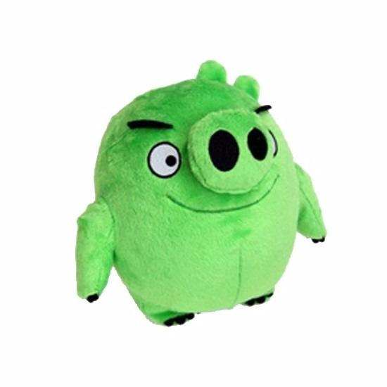 Groene Angry Birds varken knuffel 20 cm