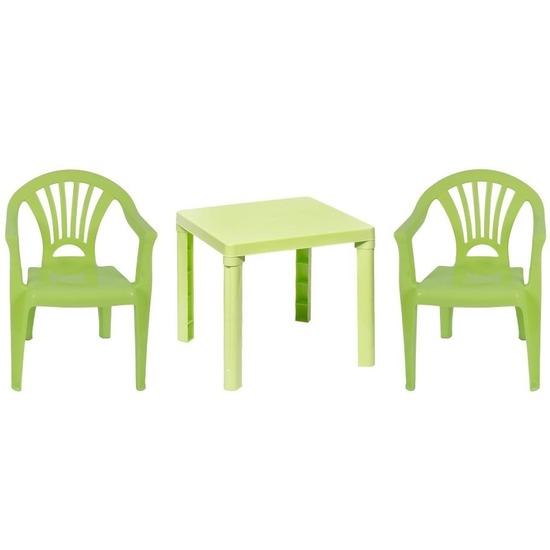 Groene kindermeubels tafel met 2 stoelen