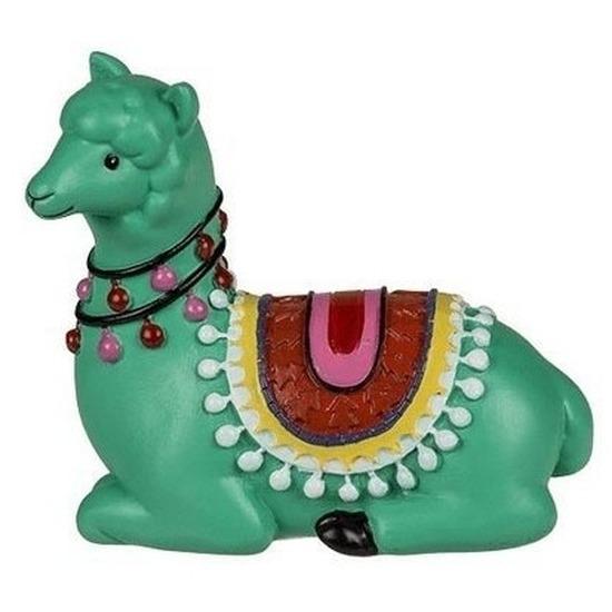 Groene liggende alpaca-lama beeldje 9 cm