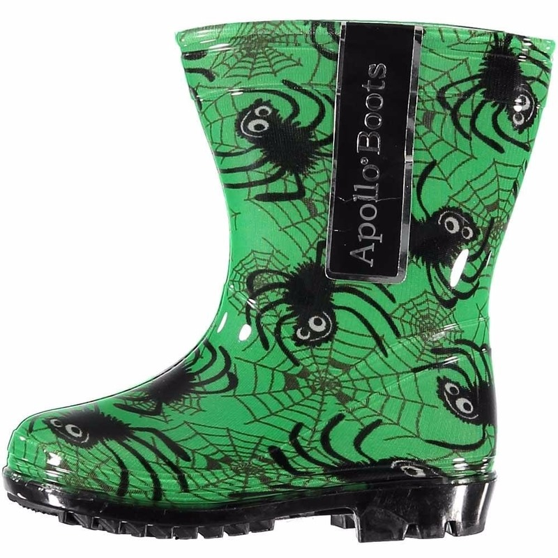 Groene rubber laarzen met spinnen voor kids