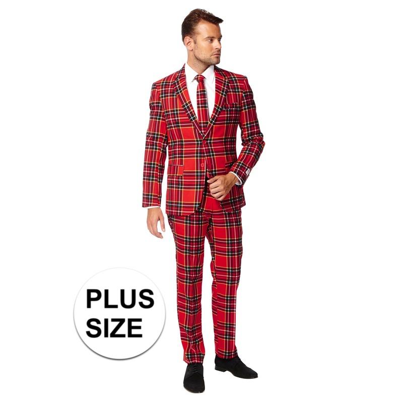 Grote maten heren verkleed pak-kostuum rode Schotse print