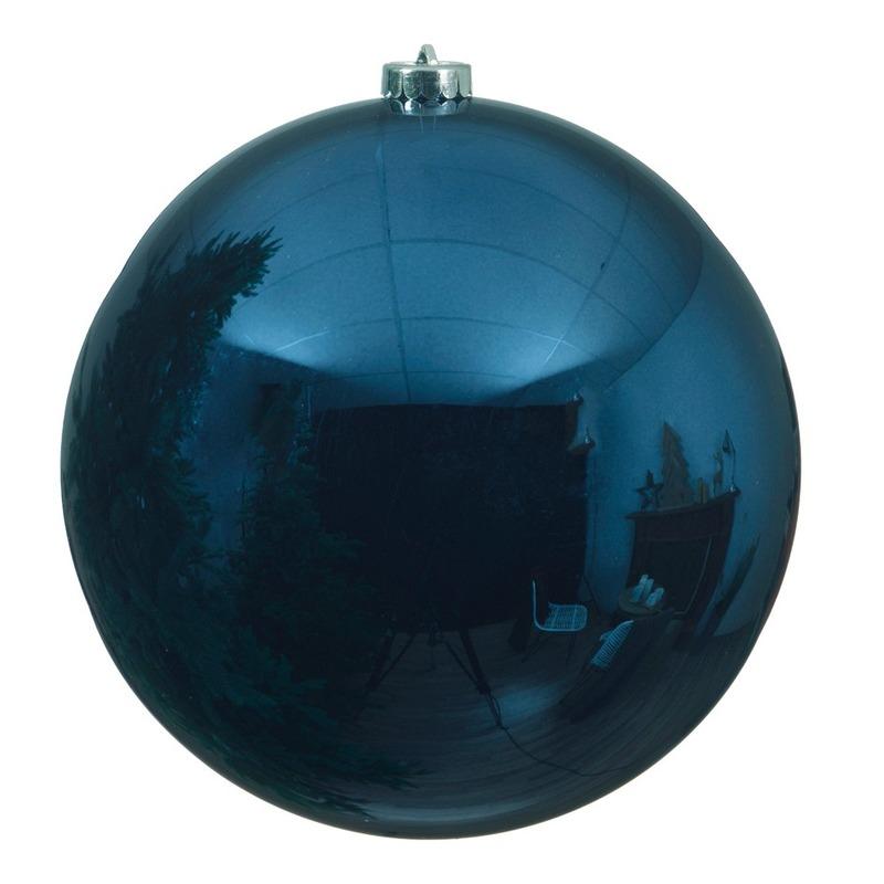 Grote raam-deur decoratie blauwe kerstbal van 14 cm