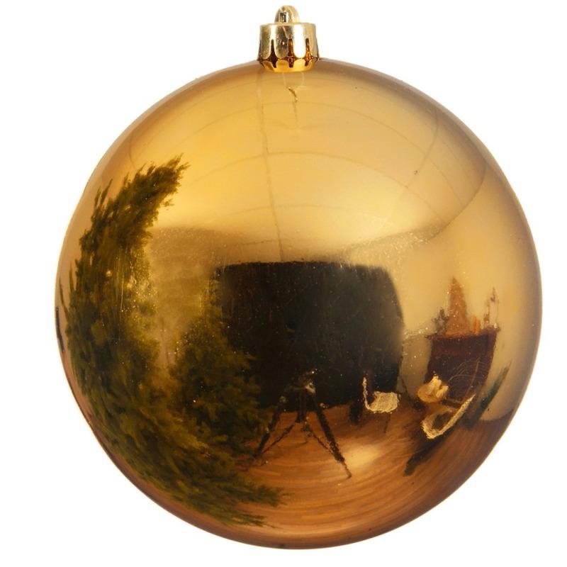 Grote raam-deur decoratie gouden kerstbal van 14 cm