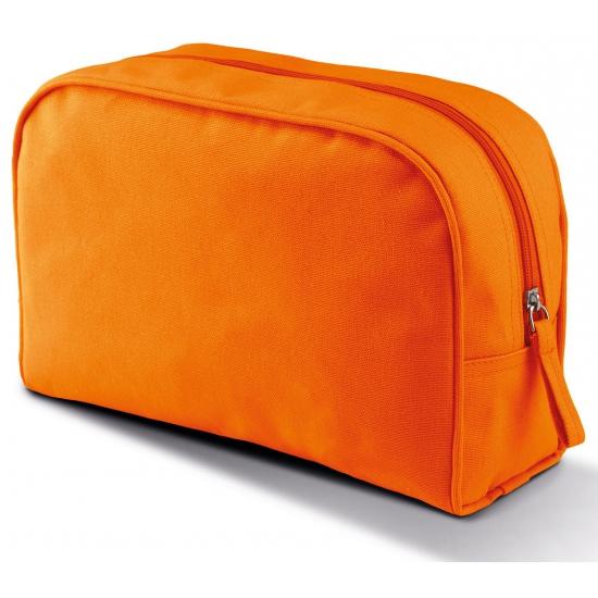 6d6e0f491c2 Canvas etui of toilettas van canvas met pu waterdichte coating. de oranje  tas heeft een