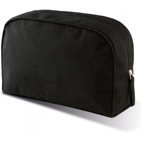 d832c808f2b Canvas etui of toilettas van canvas met pu waterdichte coating. de zwarte  tas heeft een