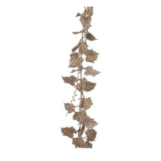 Guirlande goud met parel blad met glitter186 cm kerstversiering
