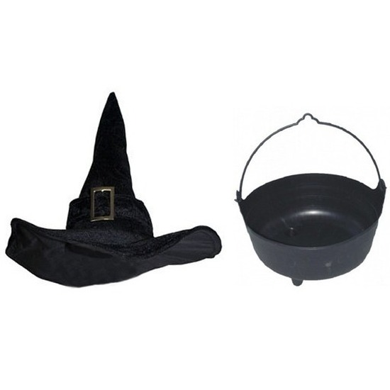 Halloween Heksen accessoires set fluwelen hoed met ketel 37 cm voor dames