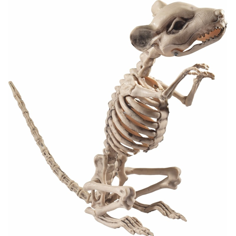 Halloween Rat-muis skelet decoratiebeeldje 33 cm