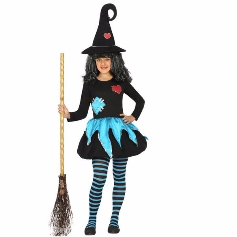 Halloween zwart-blauwe heksen outfit voor meisje