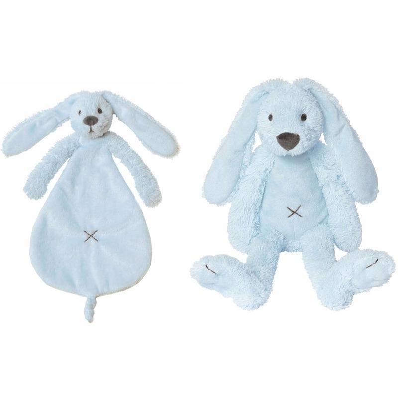 Happy Horse Richie konijn licht blauw knuffeldoekje en knuffel