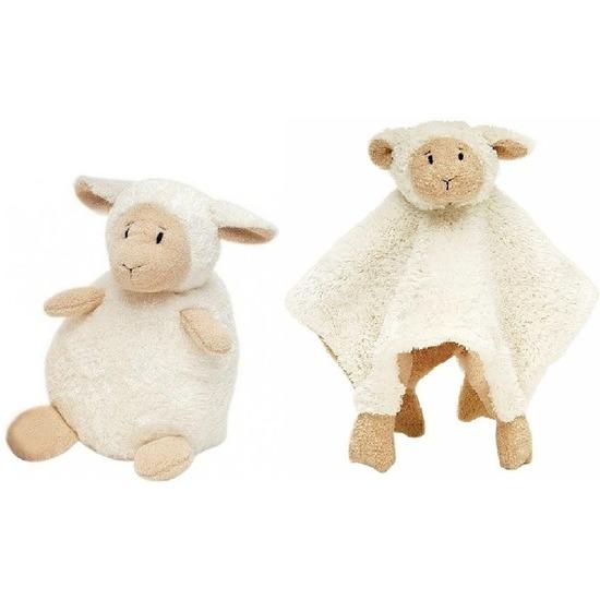 Happy Horse schaap-lammetje wit knuffeldoekje en knuffel zittend